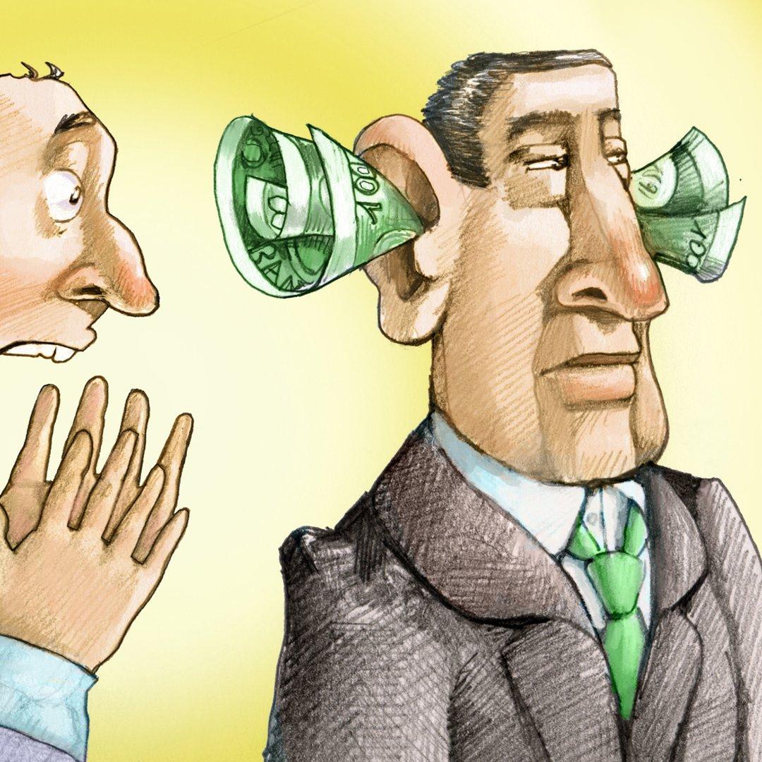 Illustration, wealthy people aren't listening